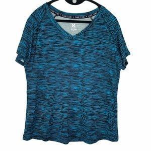 Game Time turquoise and black space dyed top